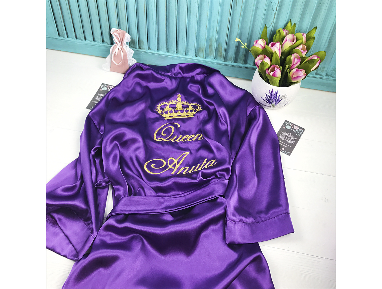 Атласный халат с именной вышивкой 93